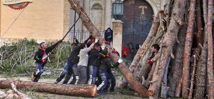 Acumulando troncos para formar la hoguera