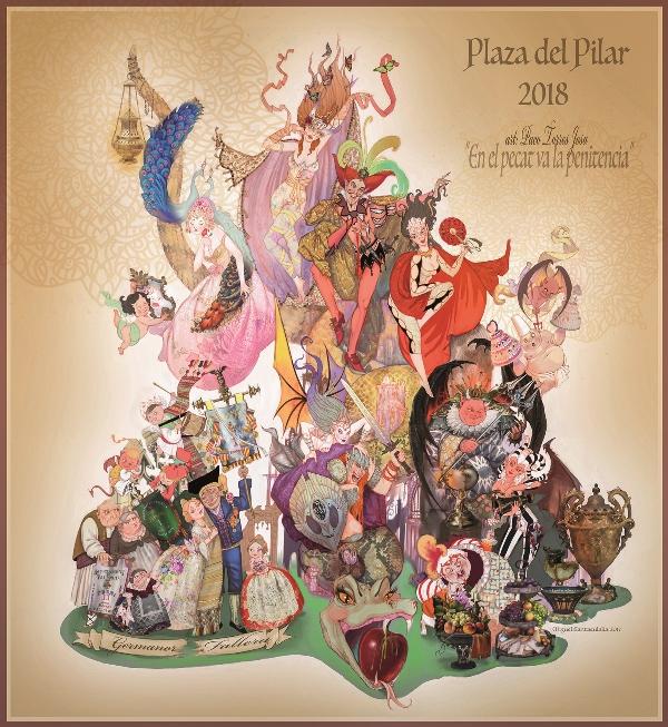 Dibujo de la Falla de la plaza del Pilar 2018