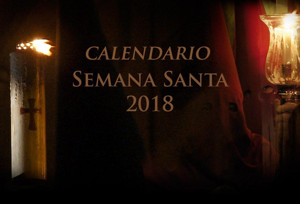 CALENDARIO SEMANA SANTA 2018 EN ESPAÑA